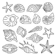 Sea shells, starfish, perl hand drawn outline vector illustration