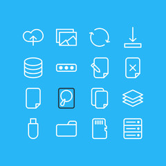 Vector Illustration Of 16 Memory Icons. Editable Pack Of Datacenter, Gallery, Agreement And Other Elements.