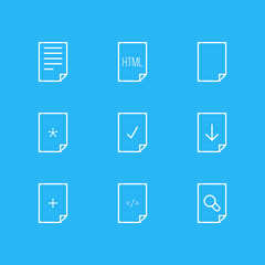Vector Illustration Of 9 Page Icons. Editable Pack Of Upload, Code, HTML And Other Elements.