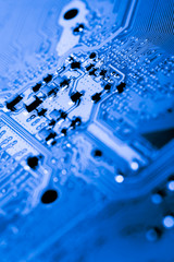 Abstract,close up of Circuits Electronic on Mainboard computer Technology background.