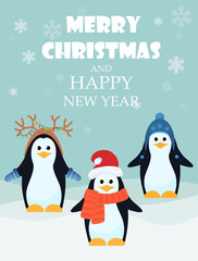 Vector illustration of adorable penguins with Merry Christmas and happy New Year greeting card.