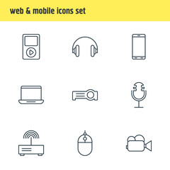 Vector Illustration Of 9 Technology Icons. Editable Pack Of Headset, Camcorder, Computer And Other Elements.