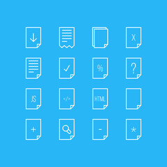 Vector Illustration Of 16 Paper Icons. Editable Pack Of Plus, Upload, Folder And Other Elements.