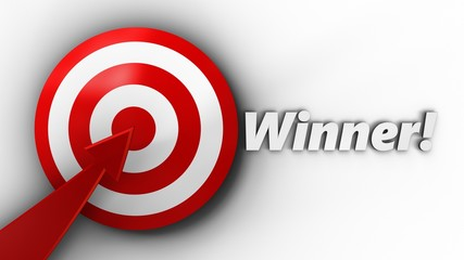 3d target with winner sign
