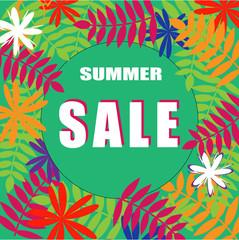 Poster - Sale summer. Beautiful banner floral summer background. Vector
