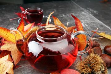 Autumn Still Life. Tea on maple leaves.