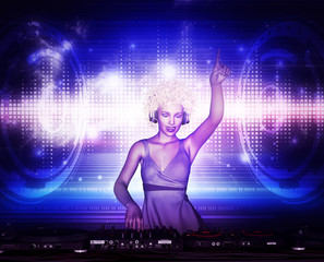 3d illustration of Confident dj girl at nightclub party,Mixed media