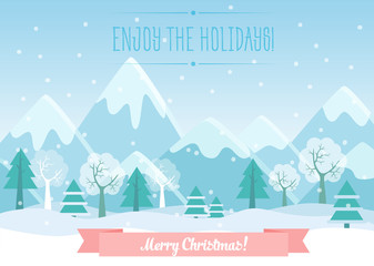 Vector Illustration of Winter Mountains landscape with pine forest and Merry Christmas text. Greeting Christmas card.