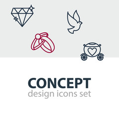 Vector Illustration Of 4 Marriage Icons. Editable Pack Of Chariot, Engagement, Brilliant And Other Elements.