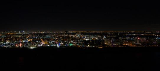 Aerial panorama Miami Beach at night