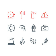 Vector Illustration Of 12 Extra Icons. Editable Pack Of Lifesaver, Burn, Exclamation And Other Elements.