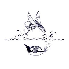 Flying fish and swimming bird