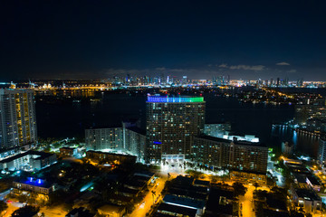 Aerial image Flamingo Towers Miami Beach at night