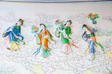 The Art on the wall They is the God of the miao Lin siao East Asia Phra Nang to Silla rule ngalin the mighty.