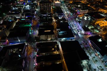 Aerial night scene South Beach Miami Florida