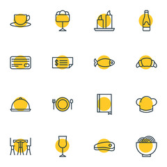 Vector Illustration Of 16 Restaurant Icons. Editable Pack Of Tea, Bowl, Table And Other Elements.