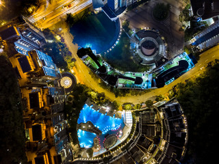 Fotomurales - Aerial view of private housing of Hong Kong at night