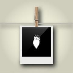 Sofortbild mit Symbol an Wäscheleine - Weihnachtsmann - Kopf
