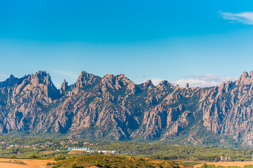 View of the mountain of Montserrat, Barcelona, Catalunya, Spain. Copy space for text.