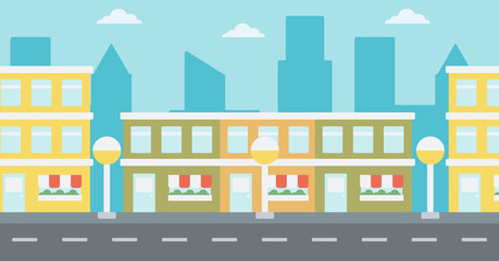 Background of modern city with facade of cafe or shop vector flat design illustration. Horizontal layout.