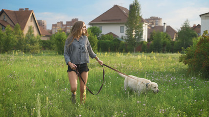 young caucasian woman and her big white dog are walking on a field near small houses in summer day
