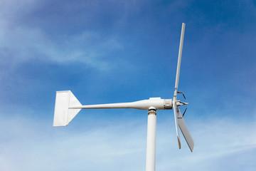 wind turbine and blue sky background