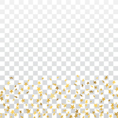 Gold stars falling confetti frame isolated on transparent background. Golden abstract pattern Christmas, New Year holiday celebration, festive, party. Glitter explosion on floor Vector illustration