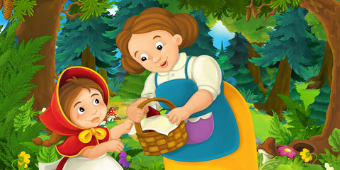 Cartoon background of a woman and a child in the forest - illustration for children