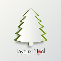 carte de vœux - noël - joyeux noël - sapin de noël - boule de noël - origami - sapin - design