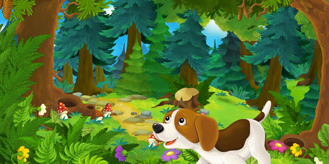 Cartoon background of a dog in the forest - illustration for children