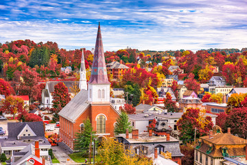 Wall Mural - Montpelier, Vermont, USA town skyline in autumn.