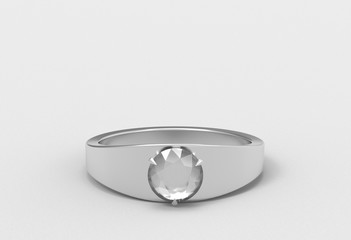 3d rendering. Diamond ring on gray background