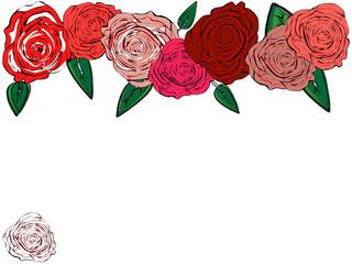 Seven roses grouped horizontally