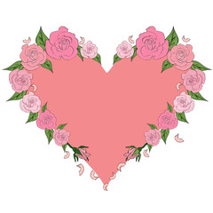 Peach heart framed by delicate roses