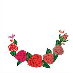 Semicircular frame of roses