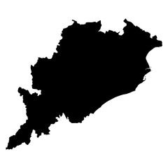 Orissa black map on white background vector