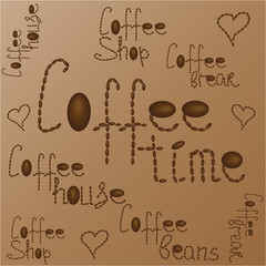 Coffee time on a brown background