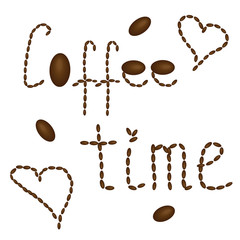 Coffee time on a white background