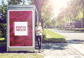 Outdoor Kiosk Advertisement Mockup 1