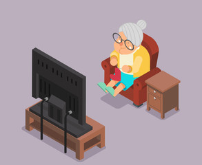 Isometric 3d Old Lady Watching TV Sit Armchair Cartoon Character Flat Design Vector Illustration