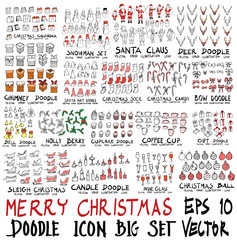 MEGA set of doodles vector. Super collection of Christmas Calendar, Snowman, Santa, Deer, Chimney, Santa Hat, Candy, Bow, Bell, Holly Berry, Coffee Cup, Gift, Sleigh, Wine Glass, Ball eps10