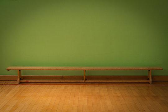 Wooden bench on indoor sport arena