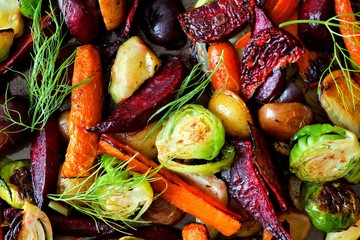 Fotorollo Gemuse Full background of roasted colorful autumn vegetables, above view
