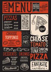 Pizza menu restaurant, food template.