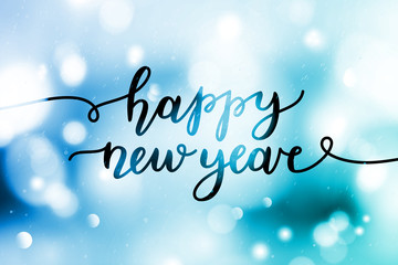 happy new year, greeting card with lettering