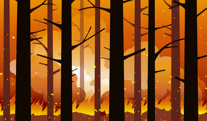 Burning forest fire with charred trees in silhouette. Natural disaster. Vector illustration.
