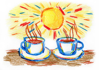 Morning coffee in the sun, a series of illustrations