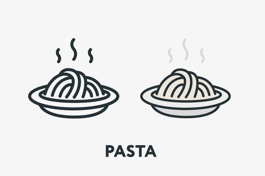 Hot Italian Pasta Bowl Dish Spaghetti Noodles Minimal Flat Line Outline Colorful and Stroke Icon Pictogram