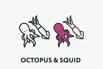 Seafood Concept Octopus and Squid Minimal Flat Line Outline Colorful and Stroke Icon Pictogram