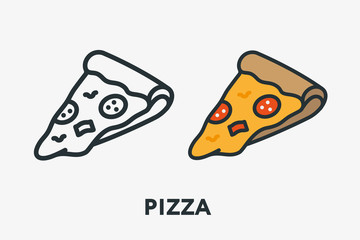 Italian Pizza Salami Pepperoni Slice With Melted Cheese Minimal Flat Line Outline Colorful and Stroke Icon Pictogram